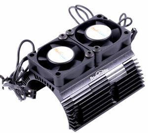 Powerhobby 1/8 Motor Aluminum Heat Sink W Dual Cooling Fan Black Arrma Senton 6S