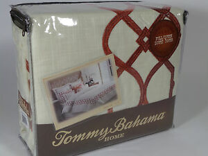 NEW TOMMY BAHAMA QUEEN DUVET COVER TRELLIS CRIMSON RED IVORY EMBROIDERED COTTON