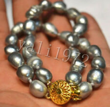"2 Row Natural 8-9mm Silver gray Baroque South Sea Pearl Bracelet 7.5-8"" LL002"