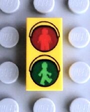 LEGO Walk or Don't Walk Traffic Sign Tile ~ Rare 1x2 Printed Yellow Tile  *NEW*