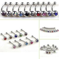 10pcs BULK Crystal Ball Button Barbell Bar Eyebrow Ear Nail Belly Navel Ring