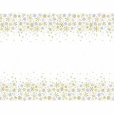 Christmas Plastic Silver & Gold Snowflakes Tablecloth 213X137cm Festive Xmas UK