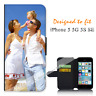 For iPhone 5 5G 5S Personalised PHOTO Wallet Flip case PICTURE cover Logo Image