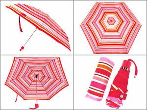 COACH PEYTON Multicolor/Stripe Mini Umbrella F62449 Red/Pinks/Tan/Orange-NEW-NWT