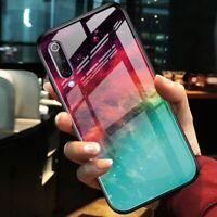 For Xiaomi Mi A3, Fashion Luxury Hybrid Glass Shell Case Soft Bumper Cover