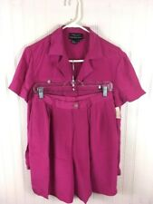 Due per Due Bloomingdale's Women's Two Piece Silk Shirt Shorts Pink misc11