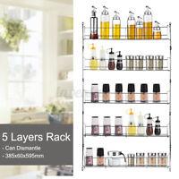 5 Layers Kitchen Spice Rack Organizer Wall Mount Storage Shelf Pantry Jar
