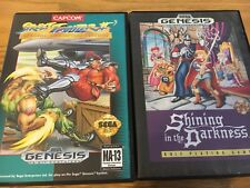 Sega Genesis Game Lot Shining In The Darkness Rpg Rare Street Fighter II Champio