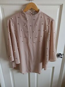 River Island Angel Sleeve Embellished Pearl Blouse Top Size 12 (C)