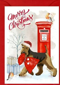 """Airedale Terrier Dog A6 (4"""" x 6"""") Christmas Card - Blank inside -by Starprint"""