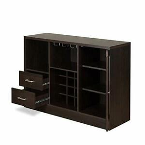 Wooden Server with One Side Door Storage Cabinets and Two Drawers, Espresso B...