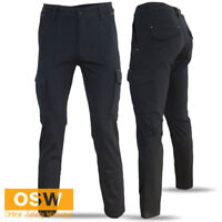 MENS BLACK COTTON STRETCH MODERN SLIM FIT SUPERIOR COMFORT WORK TRADIES PANTS