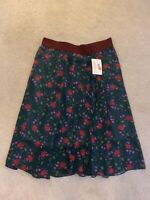 NWT LuLaRoe XL Green Lola Skirt w/Flowers, Lt. Blue Lining & Burgundy Waistband!