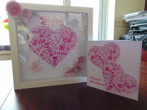 PERSONALISED Word Art Box Frame, Plus FREE matching Card. Ideal for MOTHERS DAY