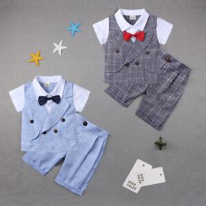 UK Kids Baby Boy Summer Suit Wedding Bowtie Gentleman Shorts Outfit 0-24M Set UK