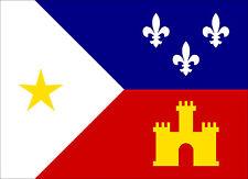 3.5x5 inch ACADIAN Flag Sticker -decal new orleans cajun fleur louisiana french