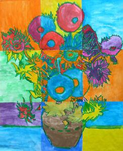 Kunstunterricht v Gogh Sonnenblumen Gruppen- Gemeinschaftswerk  Kopiervorlagen