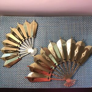 Pair Of Gold Brass Home Interior Fans-Wall Decor