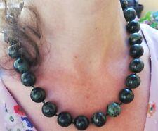 Collier ancien en perles Serpentine oeil d'argent, Chrysotile