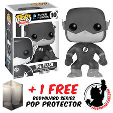 FUNKO POP DC FLASH BLACK & WHITE EXCLUSIVE VINYL FIGURE WITH FREE POP PROTECTOR