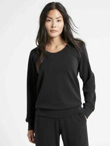 ATHLETA Seasoft Scoop-Neck Sweatshirt XL Black SOFT Travel  #982334