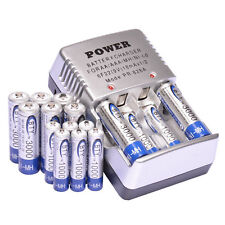 8x (AA+AAA) 1.2V 3000mAh 1000mAh Ni-Mh BTY Rechargeable Battery Cell+ Charger US