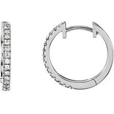 Orecchini a Cerchio con Diamanti per Ciondolo in 14K Oro Bianco (1/6 Ct. Tw
