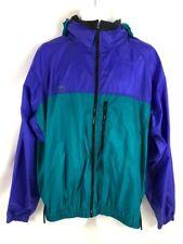 Vtg Columbia Mens Windbreaker Jacket Purple Teal Full Zip Pockets Mesh Hooded XL