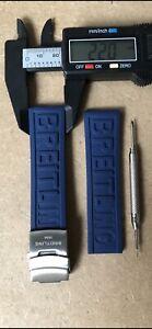 Bracelet 22/20MM Compatible Pour Breitling Caoutchouc Bleu Avec Clip Deployante