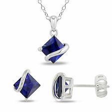 Amour Sterling Silver Created Sapphire 3-piece Jewelry Set