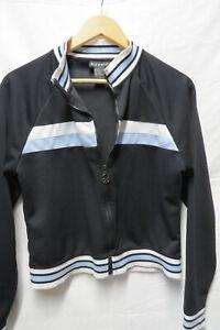 vtg AIRPORT Zip 90s Sweater retro ladies striped Black crop zipper jacket xs
