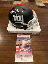 Daniel Jones Autographed New York Giants Flat Black Mini Helmet Witness JSA