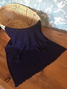 Heavenly soft 70 cashmere 30silk baby shawl/blanket.  col. Navy/ Purple Mix