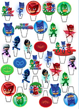 30 PRECUT PJ MASK STAND UP EDIBLE 3D CUPCAKE CAKE WAFER RICE CARD TOPPERS SCENE