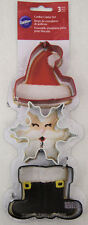 Santa 3 pc Metal Cookie Cutter Set from Wilton #0576 - NEW