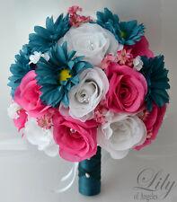 17pcs Wedding Bridal Bouquet Set Silk Flower Decoration Package TEAL FUCHSIA