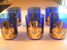 Vintage Moser Glasses 6 Bohemian Czech Glass 3D Flowers 24K Gold Gilt Orig Owner