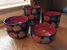 (8) Vintage Handpainted Japanese Lacquerware miso soup Bowl