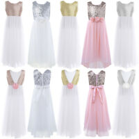 Kid Flower Girl Dress Sequin Princess Party Wedding Bridesmaid Gown Formal Dress