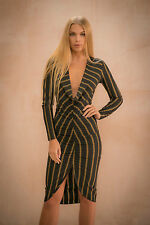 Womens Ladies Cowl Neck Striped Long Sleeve Ruched Bodycon Midi Dress 8-14 8