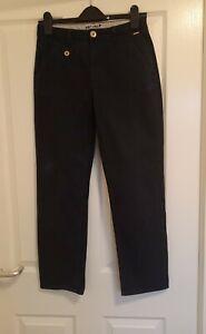 Per Una Straight Leg Blue Trousers Flat Front Cotton Size 8