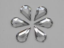 200 Clear Acrylic Flatback Faceted Teardrop Rhinestone Gems 8X13mm No Hole