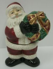 Fitz & Floyd Stacking Santa Claus with Wreath Christmas Salt & Pepper Shaker Set