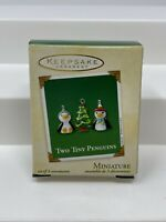 2002 Two Tiny Penguins & Christmas Tree ~ Glass ~ Hallmark Miniature Ornaments
