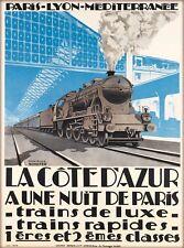 La Cote D' Azur Train France Vintage Travel Advertisement Poster Print