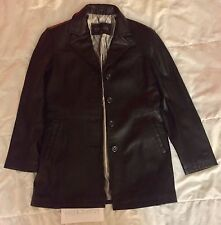 Women's Gallery 100% Genuine Leather Jacket Fully Lined Long Coat Black Size M