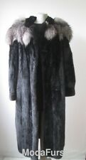 Women's Sz 16/18 Mink Fur Coat with Silver Fox Fur Collar SUPERB  XXXLarge