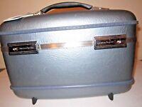 Vintage Blue American Tourister Train Case Keys, Mirror, Tray, & Extras
