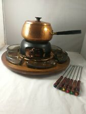 Vintage Rare Beaten Lidded Copper Pot On Wooden Turntable Fondue 6/Set Complete