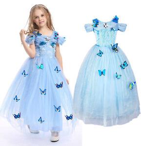 Cinderella Dress Girls Princess Costume Party Dress Up Butterfly Kids Cosplay